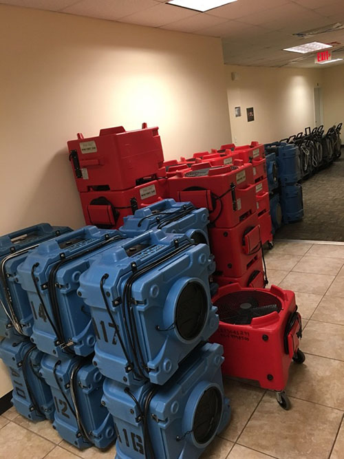 water damage repair equipment inside commerical property