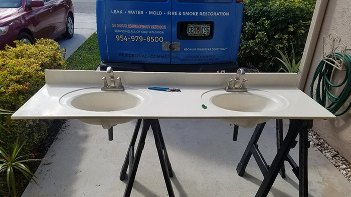 water damage containment at a commercial property in florida