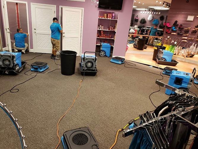 water damage restoration at retail store in florida