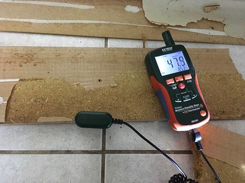 water damage evaluation equipment measuring moisture