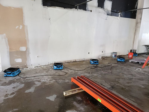 commercial water damage restoration equipment drying warehouse