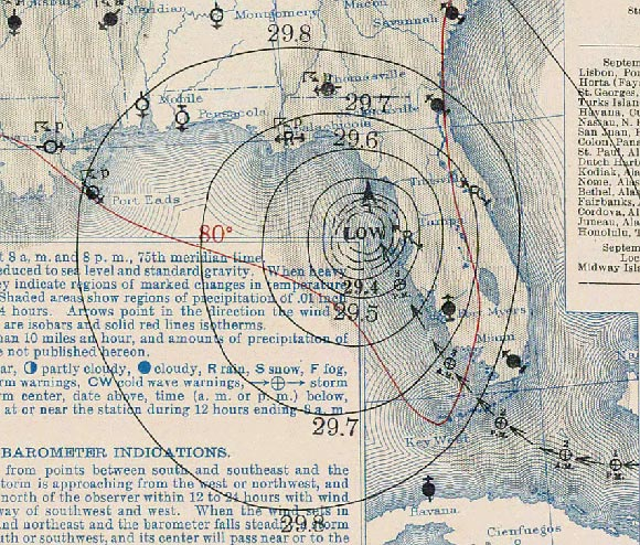 1935 labor day hurricane florida keys map
