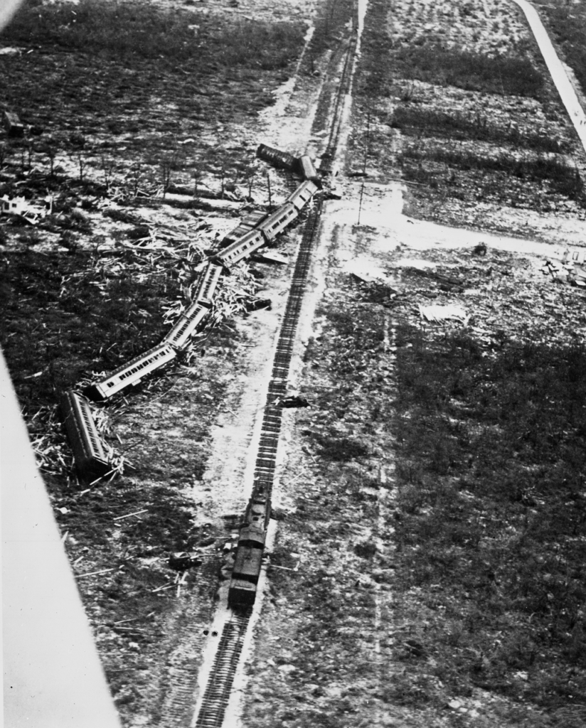 derailed rescue train after 1935 labor day hurricane