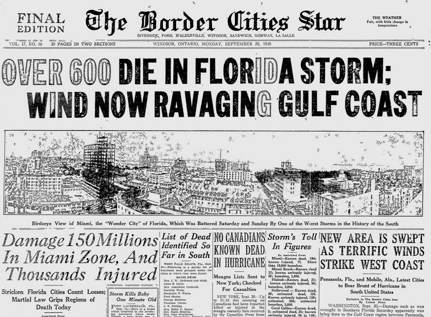 newspaper article covering the 1935 labour day hurricane