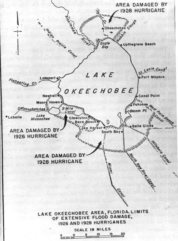 The Okeechobee Hurricane of 1928 flood map