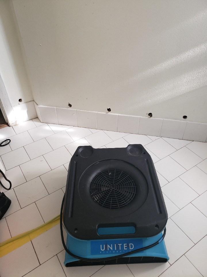 water damage equipment drying wall in aventura florida