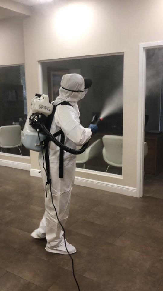 air fogging for coronavirus in a florida office