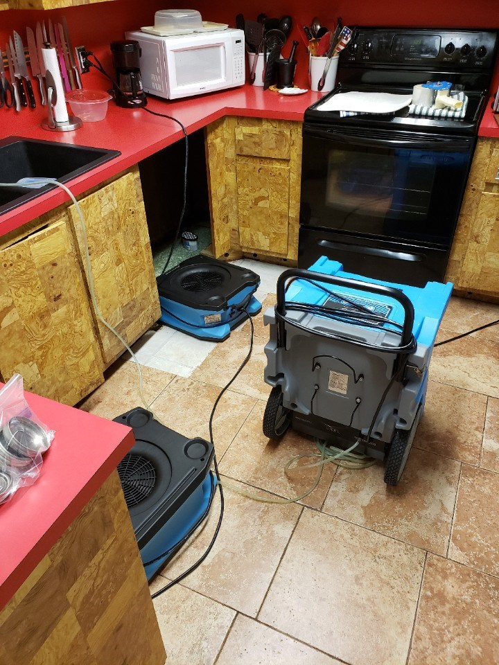 water damage repair equipment in a fort lauderdale florida kitchen