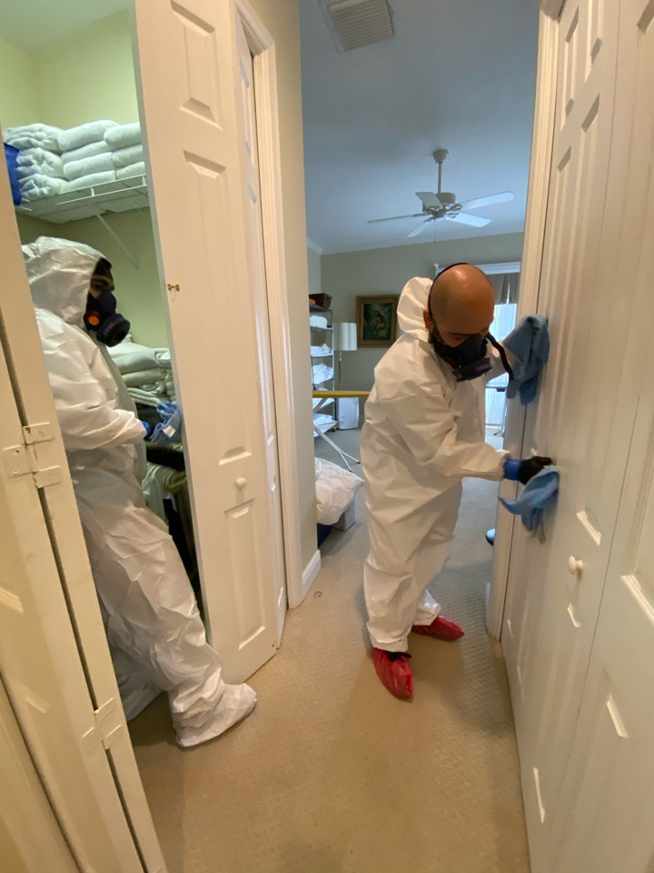 united restoration technicians wipe down residential home for covid-19
