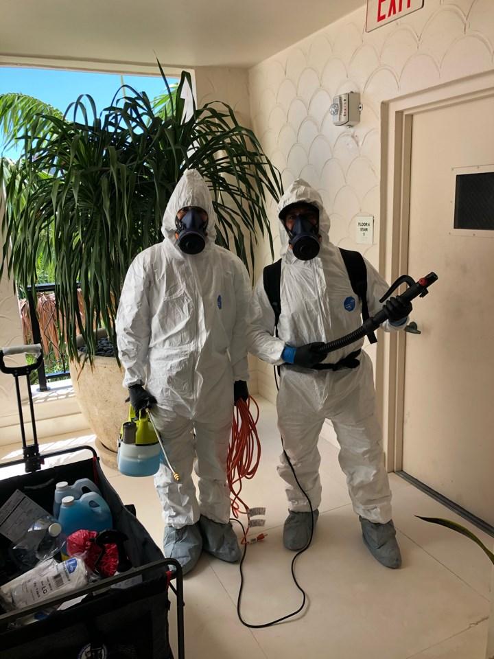 coronavirus cleaning service preparing to disinfect in florida