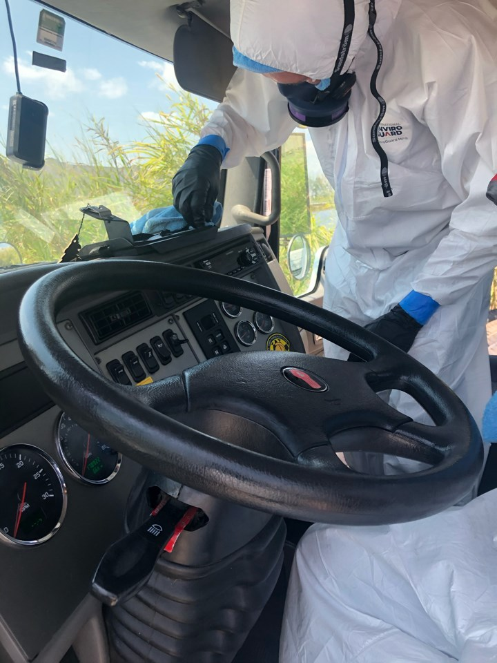 cleaning commercial vehicle for coronavirus
