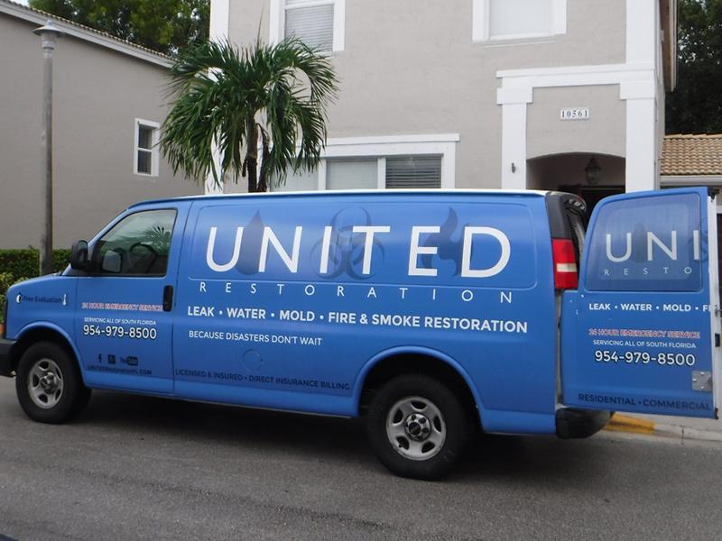 united restoration truck responding to an emergency