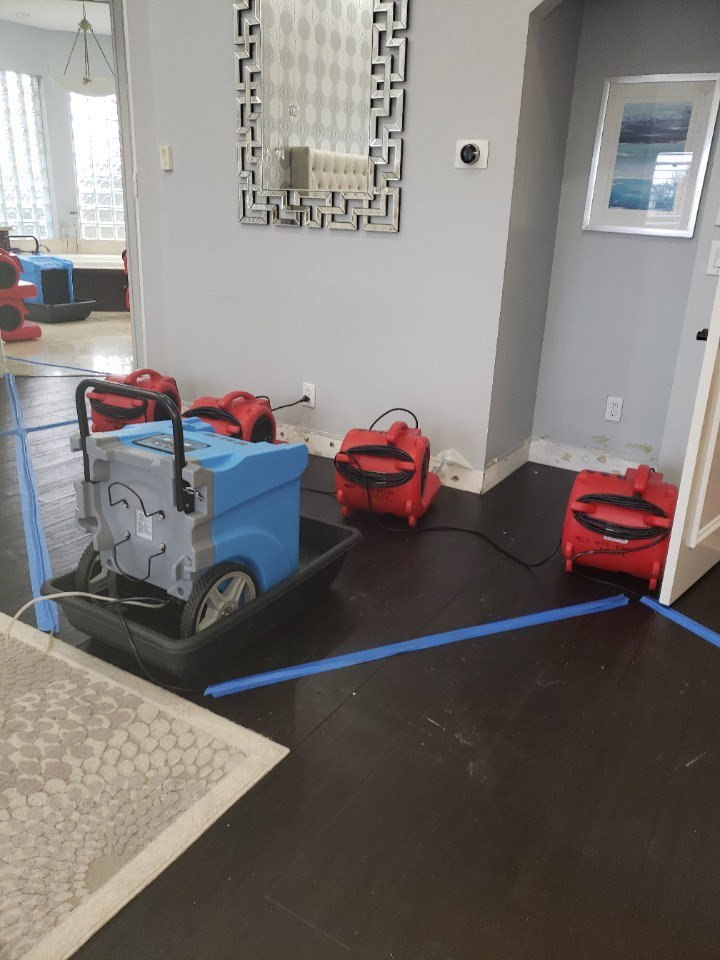 water damage repair equipment drying home in parkland florida