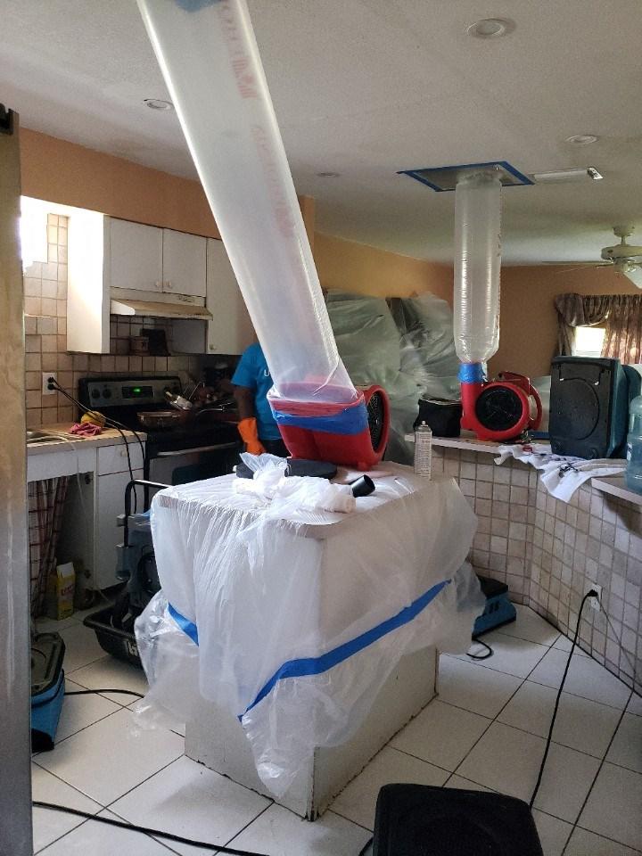 water damage equipment drying kitchen in aventura florida