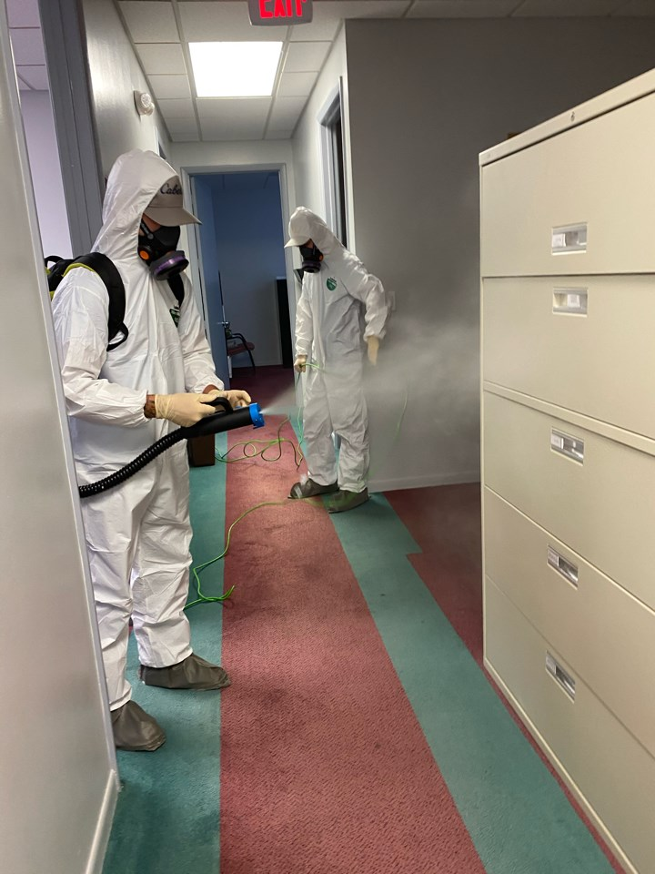united restoration technicians disinfect and fog for coronavirus in a florida office
