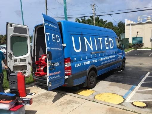 united restoration water damage restoration truck